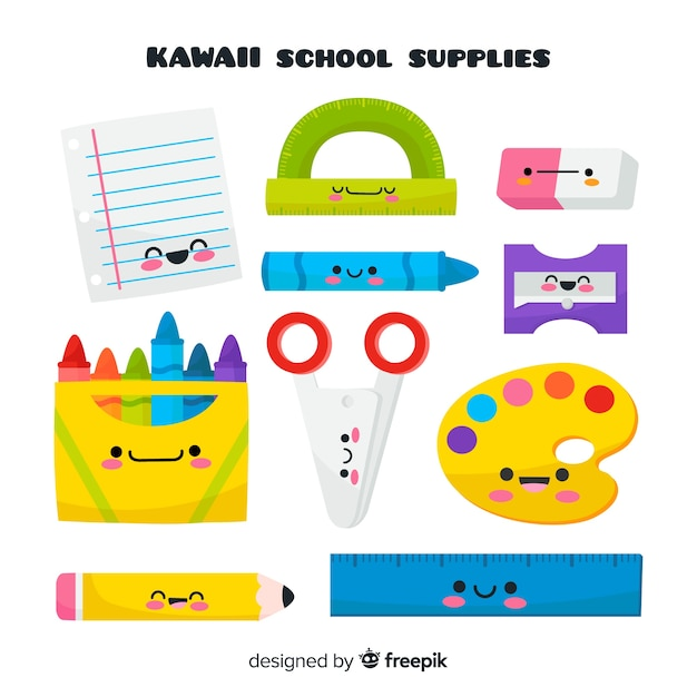 Collection de fournitures scolaires kawaii dessinées à la main Vecteur gratuit