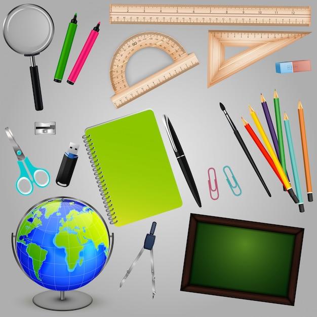 Collection de fournitures scolaires Vecteur Premium