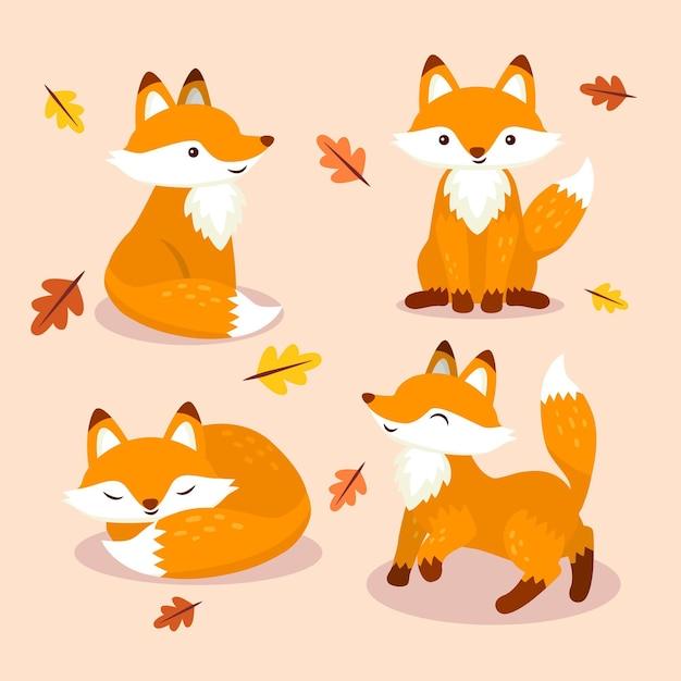 Collection Fox Dessinée à La Main Vecteur gratuit