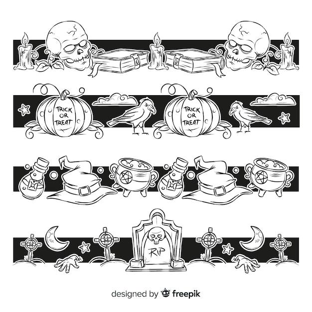 Collection De Frontière Halloween Dessinée à La Main Vecteur gratuit