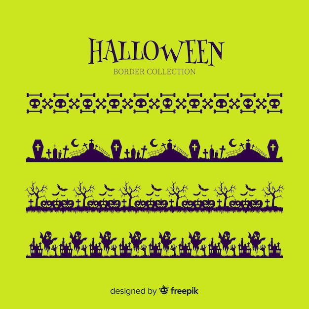 Collection de frontière plat halloween sur fond vert Vecteur gratuit