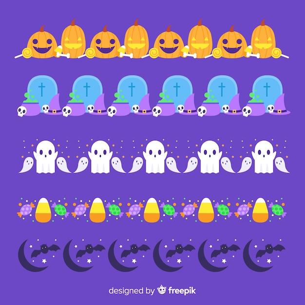 Collection de frontière plate halloween sur fond violet Vecteur gratuit