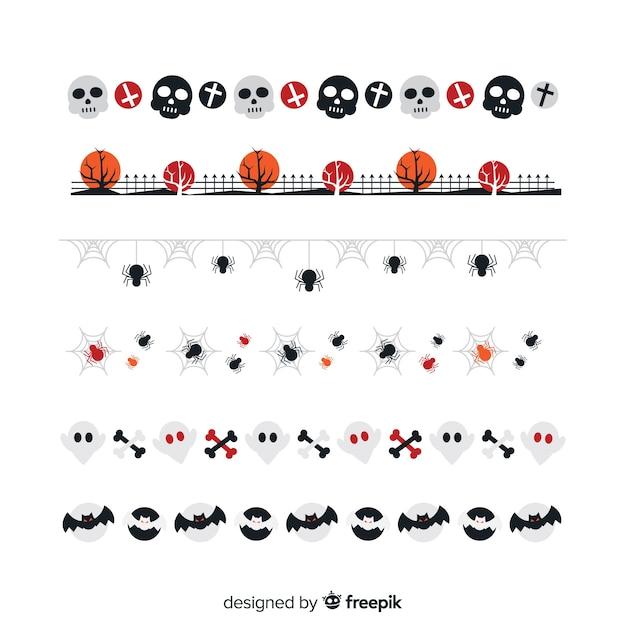 Collection Frontière Plate Halloween Vecteur gratuit