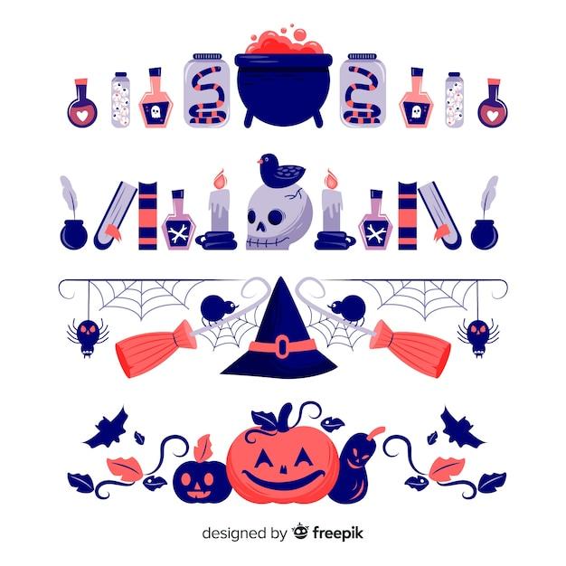 Collection De Frontière De Sorcellerie Halloween Dessinés à La Main Vecteur gratuit
