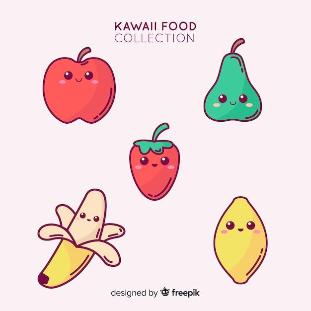 Collection de fruits adorables dessinés à la main Vecteur gratuit