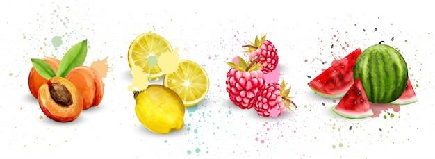 Collection de fruits aquarelle Vecteur Premium