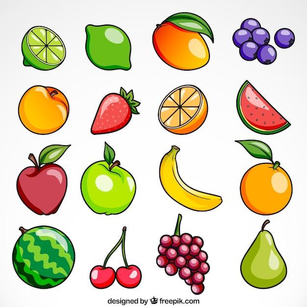 Collection de fruits brillants Vecteur gratuit