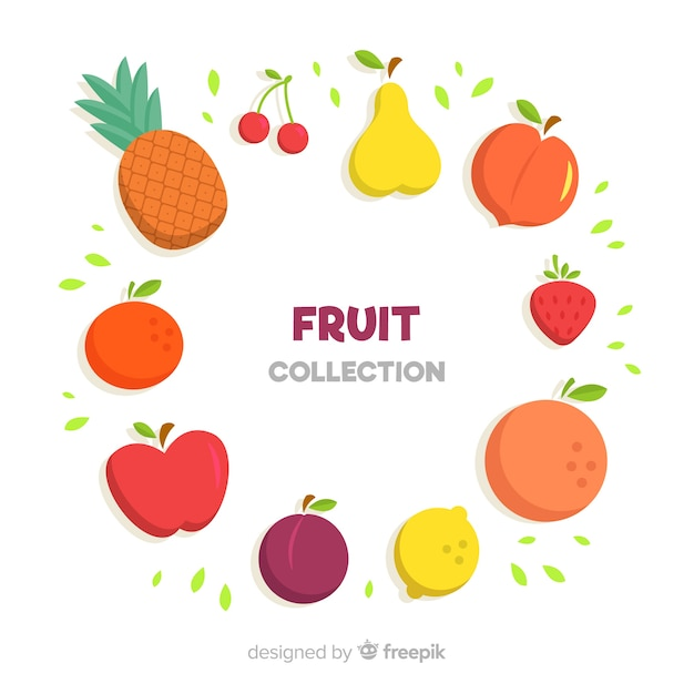 Collection De Fruits Dessinés à La Main Vecteur gratuit