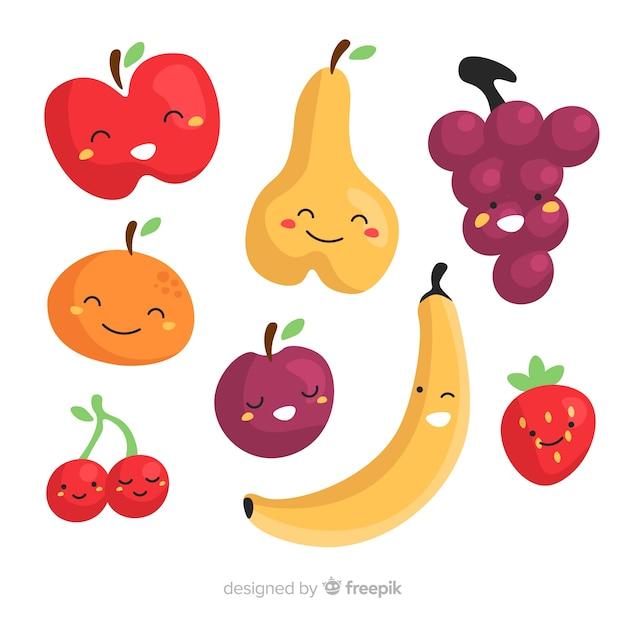 Collection de fruits dessinés à la main Vecteur gratuit