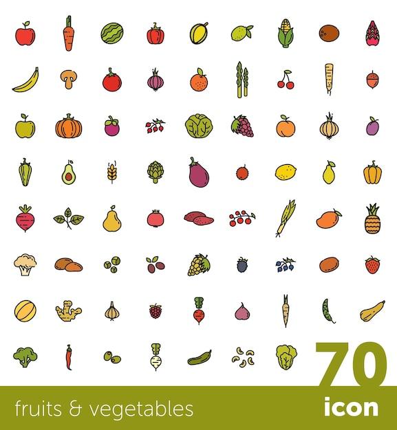 Collection de fruits et légumes. Vecteur Premium