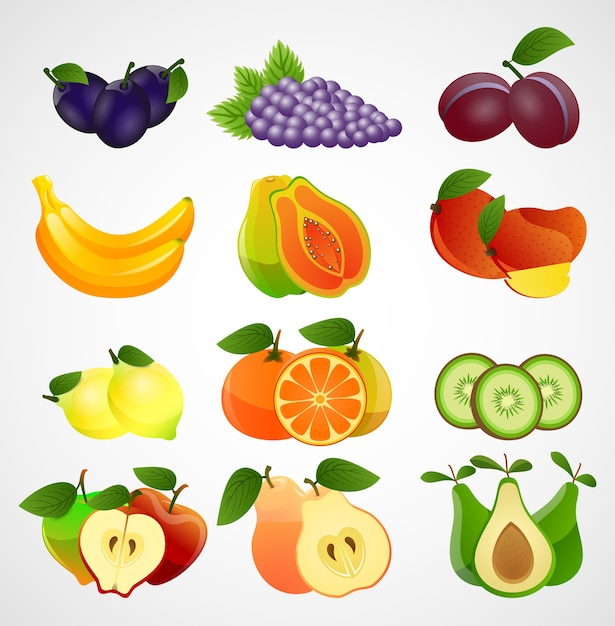 Collection de fruits de tranches sur fond blanc Vecteur Premium