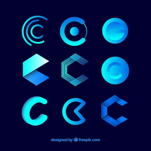 Collection futuriste de modèle de lettre logo c Vecteur gratuit