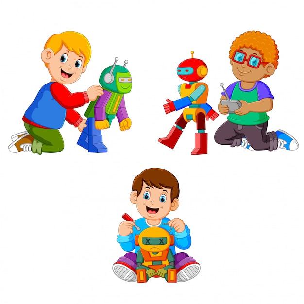 La collection des garçons jouant avec leurs robots Vecteur Premium