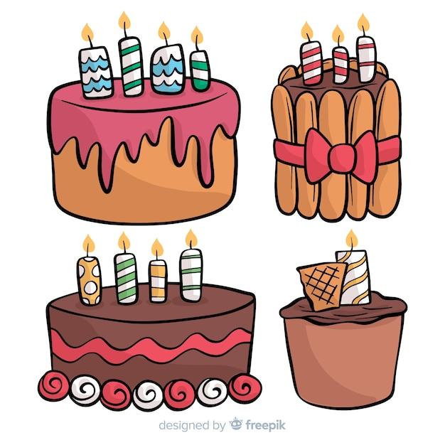Collection de gâteaux d'anniversaire dessinés à la main Vecteur gratuit