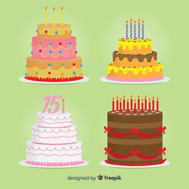 Collection de gâteaux d'anniversaire plats Vecteur gratuit