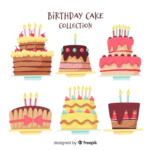 Collection de gâteaux d'anniversaire Vecteur gratuit