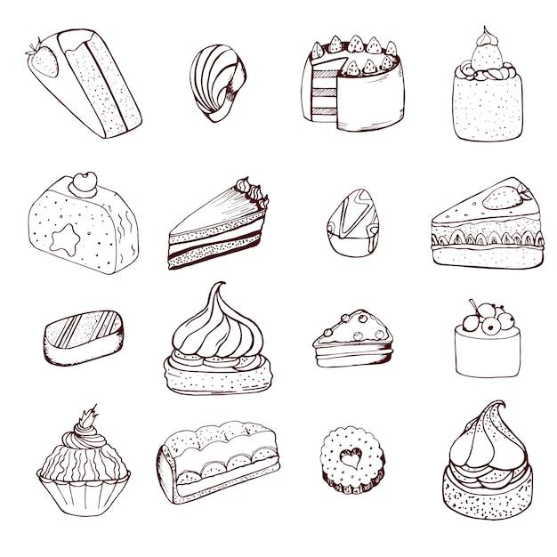 Collection de gâteaux et bonbons au chocolat dessinés à la main Vecteur Premium