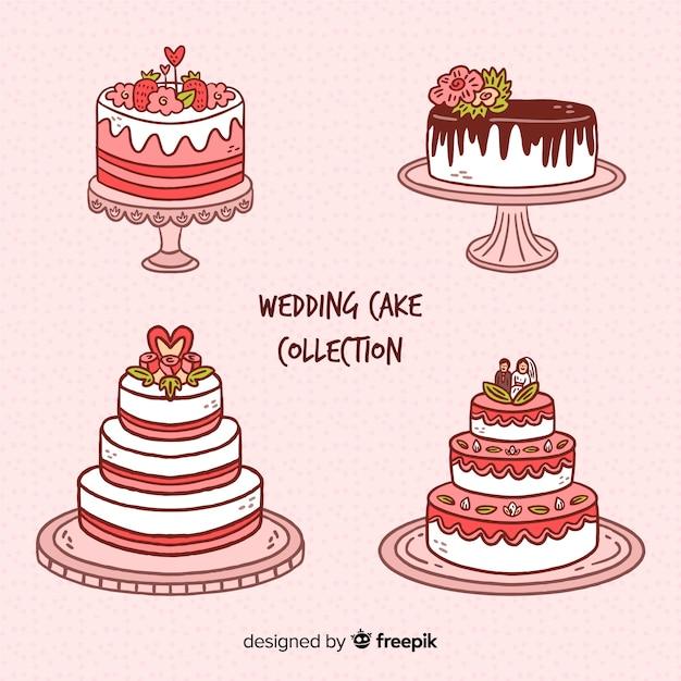Collection De Gâteaux De Mariage Dessinés à La Main Vecteur gratuit