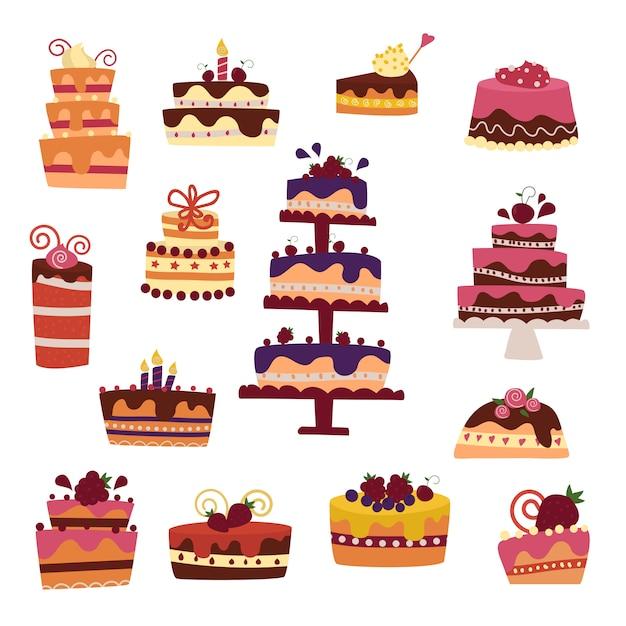 Collection de gâteaux de vecteur isolée Vecteur Premium