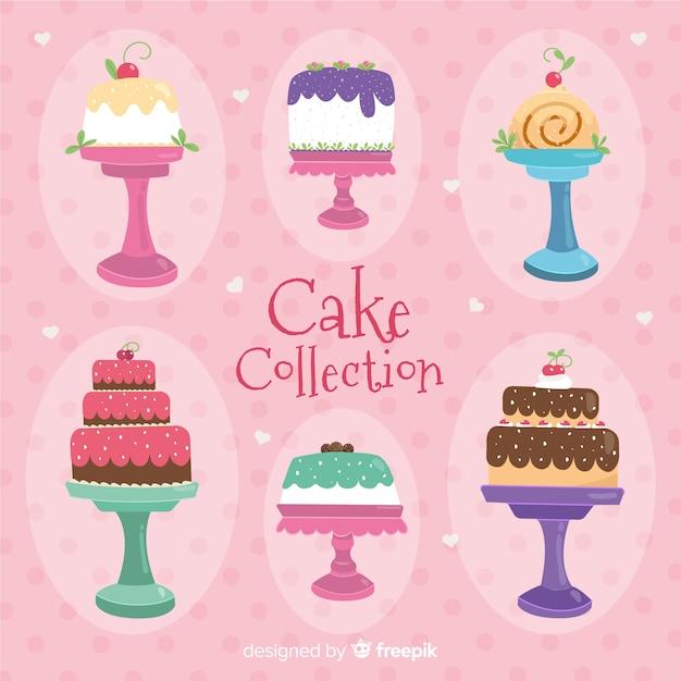Collection De Gâteaux Vecteur gratuit