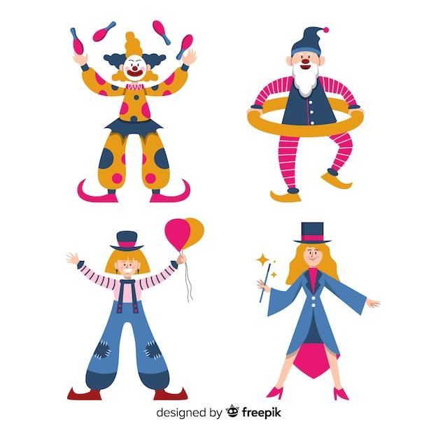 Collection de gens habillés colorés Vecteur gratuit