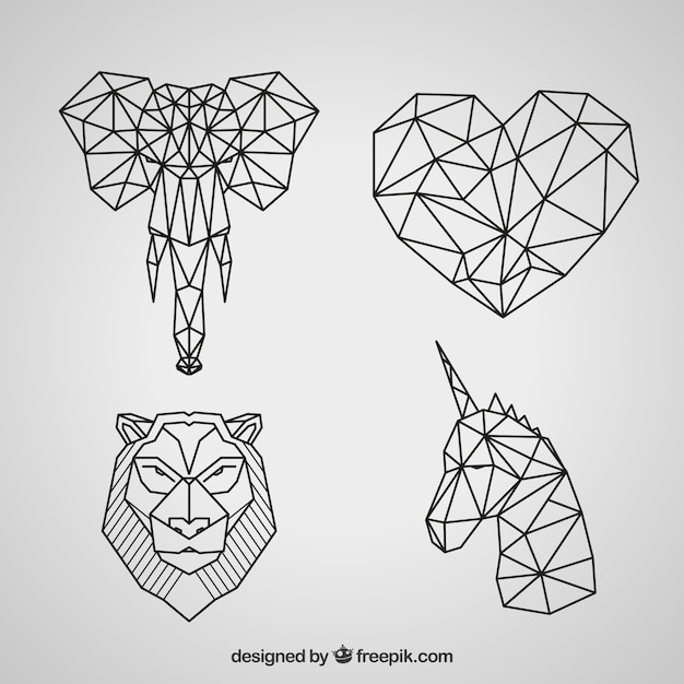 Collection Geometrique De Tatouage Animal Telecharger Des Vecteurs