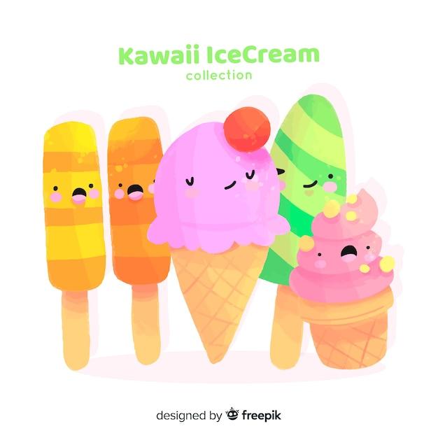 Collection de glaces kawaii dessinée à la main Vecteur gratuit
