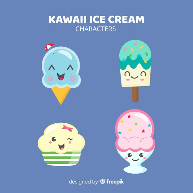 Collection de glaces kawaii Vecteur gratuit