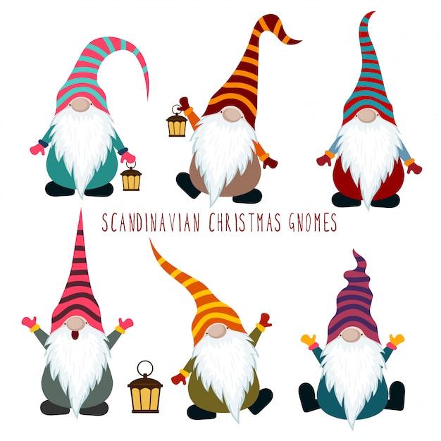 Collection de gnomes de noël Vecteur Premium