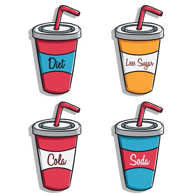 Collection de gobelets en papier soda avec de la paille et du texte Vecteur Premium