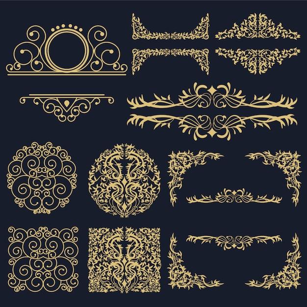 Collection golden ornamental elements Vecteur Premium