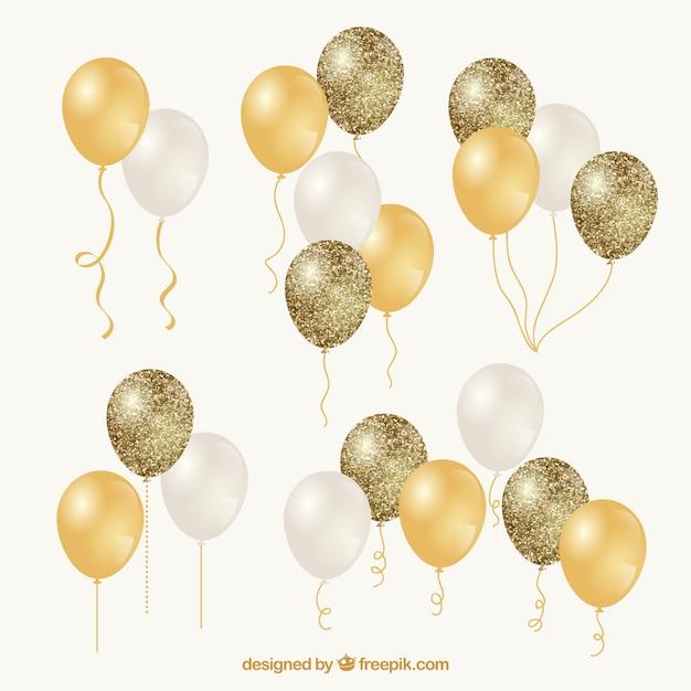 Collection De Grappes De Ballons Or Et Blancs Vecteur gratuit