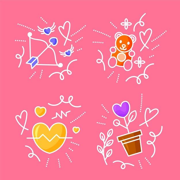 Collection De Griffonnages D'amour Dessinés à La Main Vecteur Premium