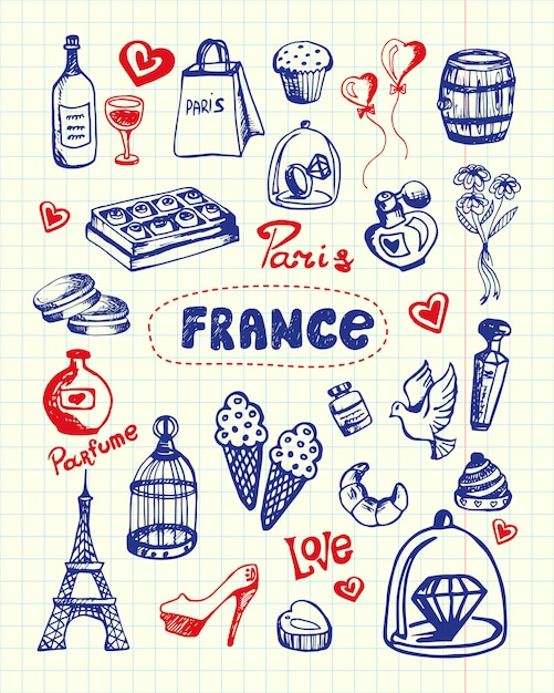 Collection De Griffonnages Dessinés Au Stylo France Vecteur Premium