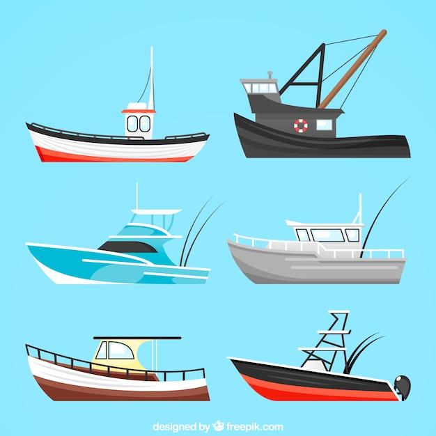 Collection de gros bateaux Vecteur gratuit