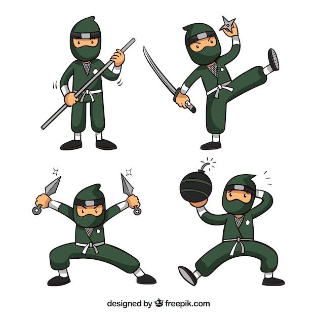 Collection De Guerrier Ninja Dans Différents Posses Vecteur gratuit