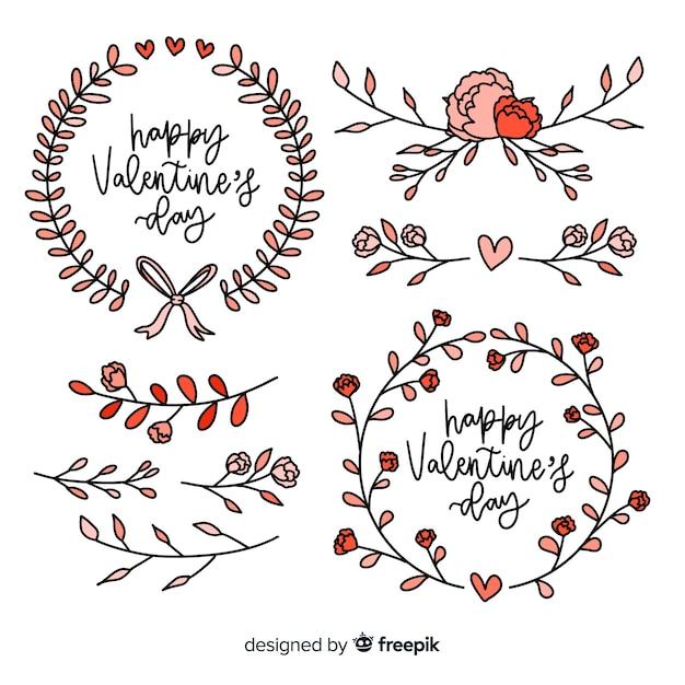 Collection De Guirlande Florale Et Décorations Pour La Saint-valentin Vecteur gratuit