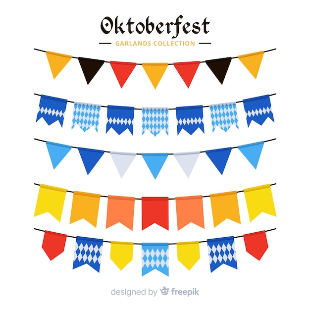 Collection de guirlande oktoberfest design plat Vecteur gratuit