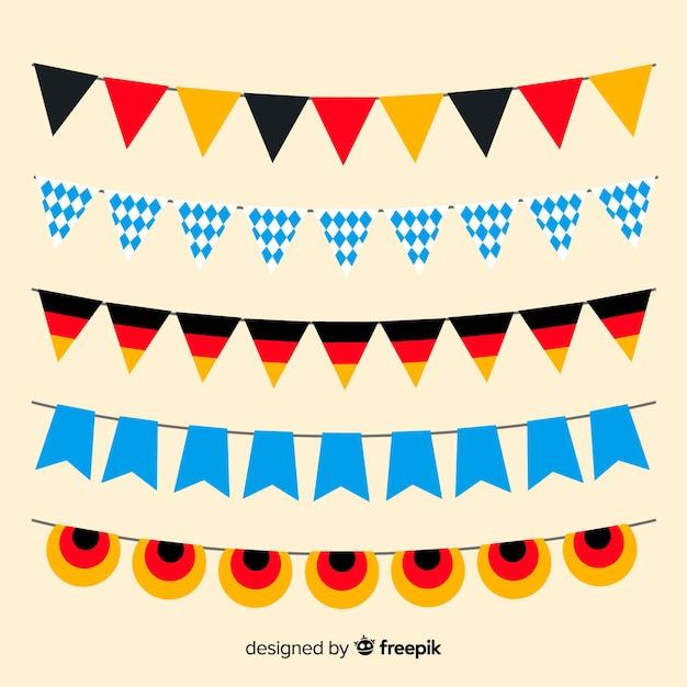 Collection de guirlande oktoberfest design plat Vecteur gratuit