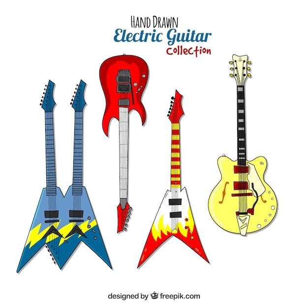 Collection De Guitare électrique Dessinés à La Main Vecteur gratuit