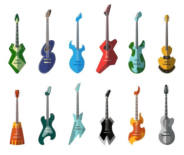 Collection De Guitare. Guitares Acoustiques Et électriques De Différentes Formes. Isolé Vecteur Premium