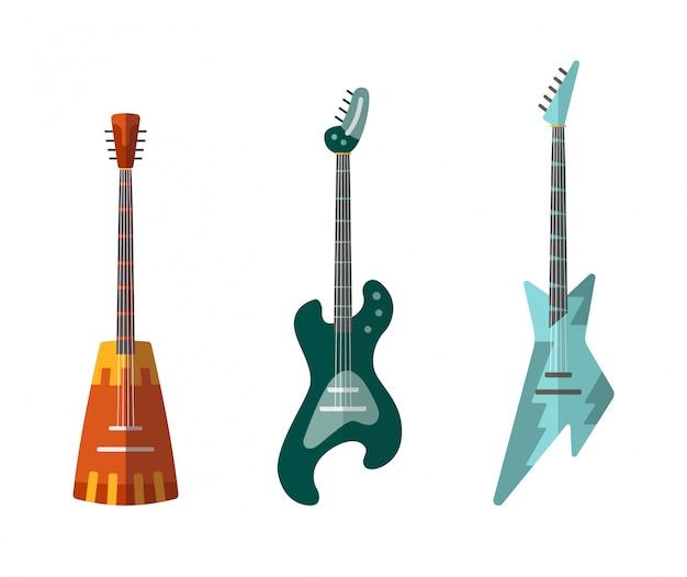 Collection De Guitare. Guitares Acoustiques Et électriques De Différentes Formes. Vecteur Premium