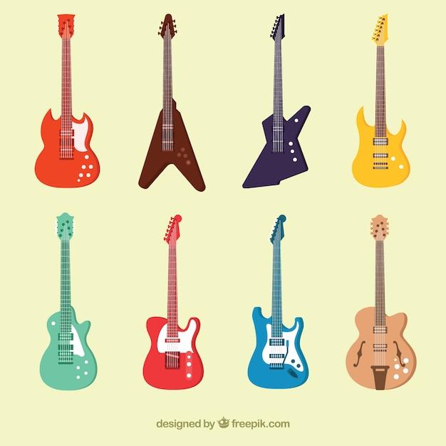 Collection De Guitares électriques Colorées Vecteur gratuit