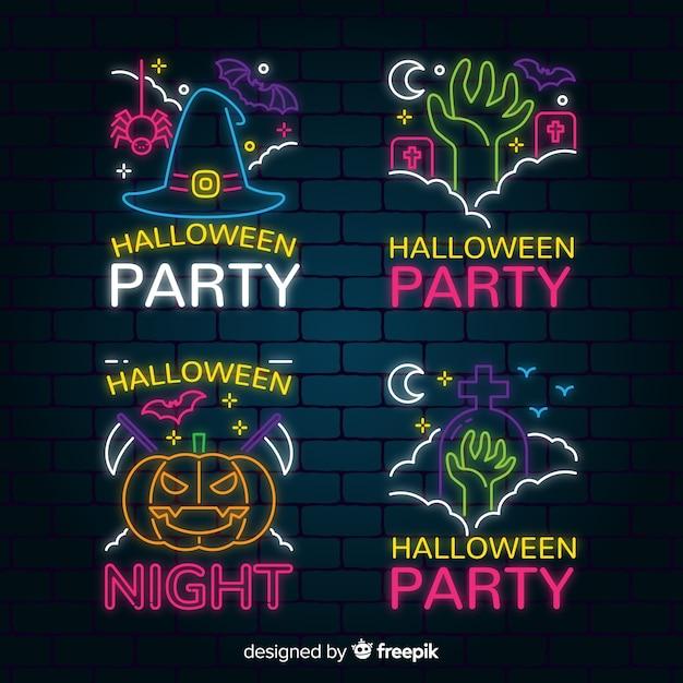 Collection halloween enseigne au néon Vecteur gratuit