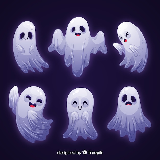 Collection d'halloween fantôme lumière blanche Vecteur gratuit
