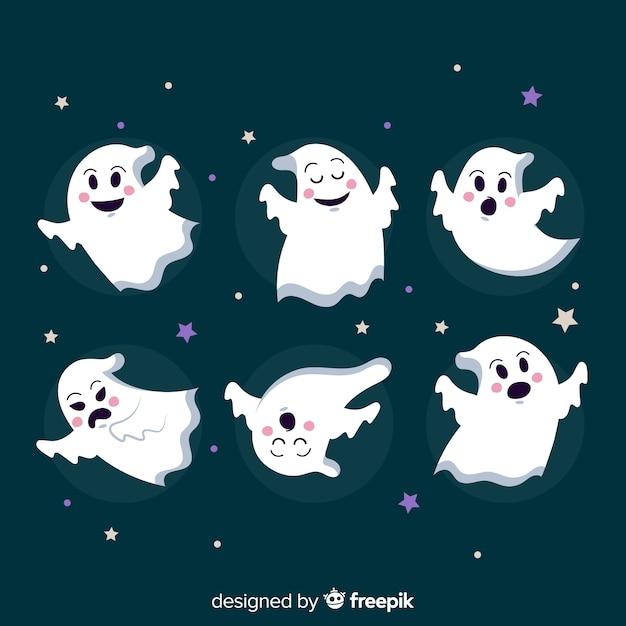 Collection halloween avec des fantômes sur un design plat Vecteur gratuit