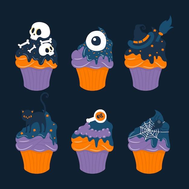 Collection d'halloween sweet cupcake Vecteur Premium