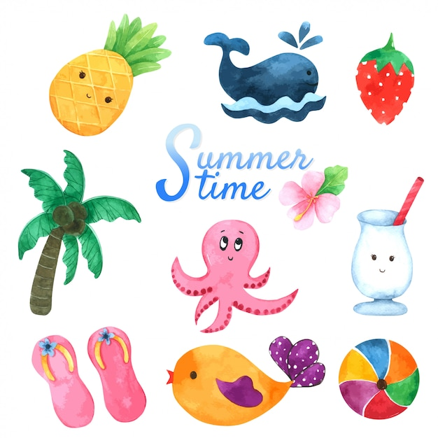 Collection heure d'été à l'aquarelle Vecteur Premium