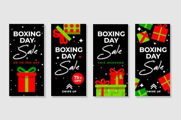 Collection d'histoire de vente de boxe instagram Vecteur gratuit