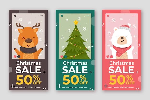 Collection de l'histoire de vente de noël instagram Vecteur gratuit